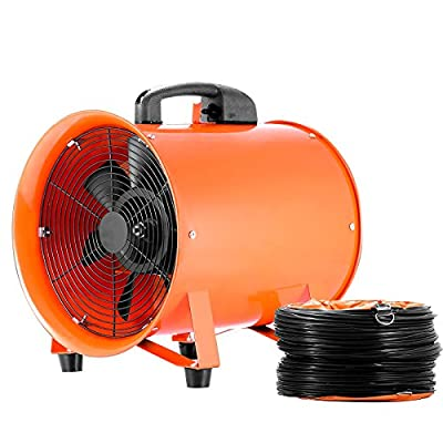 """Hihone 12"""" Utility Blower Fan with Hose, 3300RPM Heavy-Duty Velocity Air Circulator Low Noise for Industril, Portable Ventilator Utility Blower Fan Portable(5M Duct Hose)"""