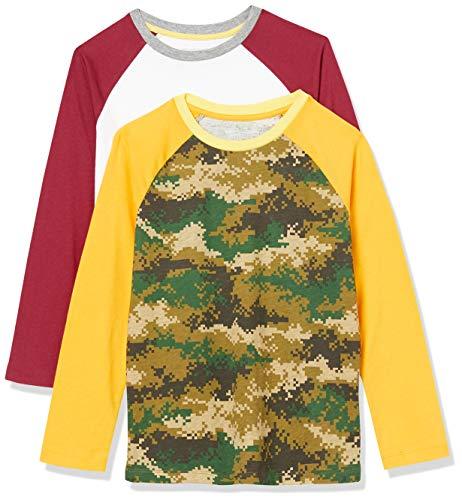 Amazon Essentials Boys' 2-Pack Long-Sleeve Raglan Fashion-t-Shirts, 2er-Pack Oliv Digital Camo, 8 Jahre