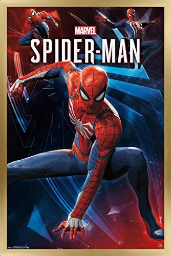 Trends International Marvel Comics - Spider-Man - Poses Wall Poster, 14.725' x 22.375', Gold Framed Version