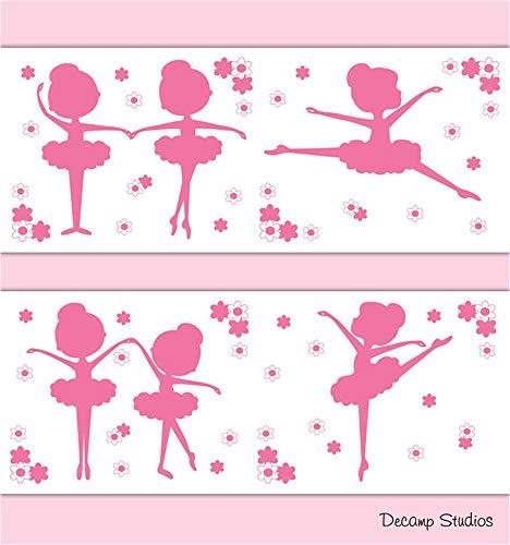 pegatina de pared 3d Rosa bailarina silueta niña ballet danza vivero para niña habitación para sala de baile para dormitorio