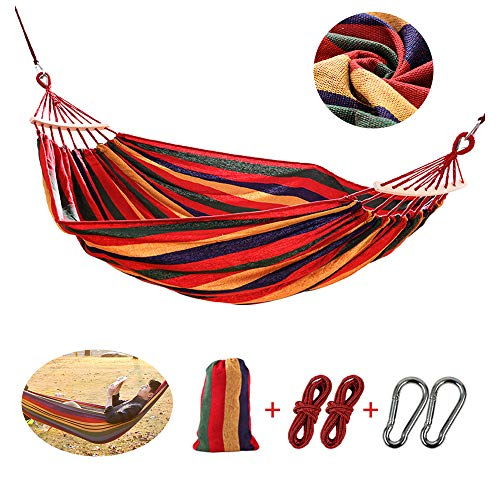HOXMOMA Single Hammock Garden Leisure Hammocks Bed for Backyard, Porch, Outdoor and Indoor Use, Ultralight Camping Hammock, Soft Woven Cotton Fabric, Carry Bag Included,100×200cm/31x79inch