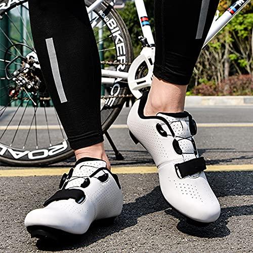 HFCY Zapatillas De Ciclismo Zapatillas De Bicicleta De Carretera De Parejas Moda Antideslizantes Transpirables De Carretera Zapatillas Bicicleta De Montaña,White-EU36 / 230mm