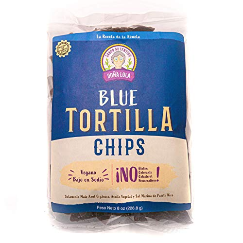 TORTILLA CHIPS DOÑA LOLA: Organic Blue Corn, Gluten-Free, Plant-based, Low Sodium, No Preservatives, No Coloring, 8oz