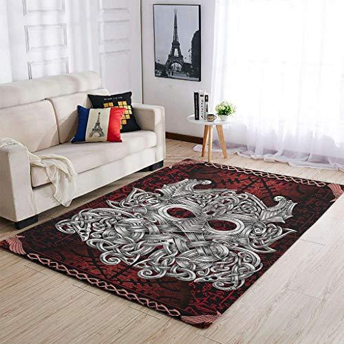 BTJC88 Alfombra tradicional de estilo vikingo Odin para salón, para dormitorio o cama, color blanco, 50 x 80 cm