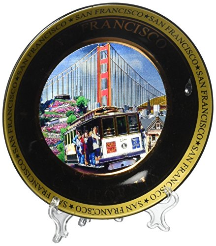 """San Francisco Color Collage Collectors Souvenir Plate 4.5"""" Golden Gate Bridge Cable Car -  City Coffee Mugs"""