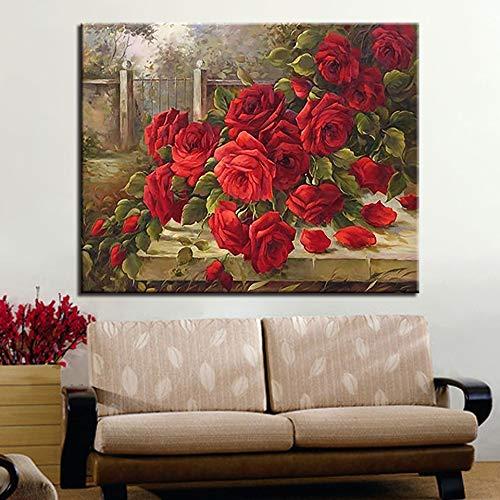 Canvas, ingelijst, olieverfschilderij, abstract, bloemen, op cijfers, nog borstvoeding geven, modulaire tekening, illustratie, foto's voor thuis, decoratie, wandposter 40x50cm DIY No Frame Y5546