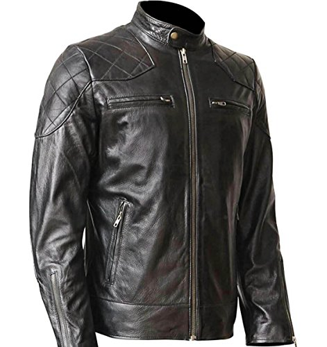 WONDERPIEL Leather Jacket for Men – Real Lambskin Biker Jacket – Black, Medium