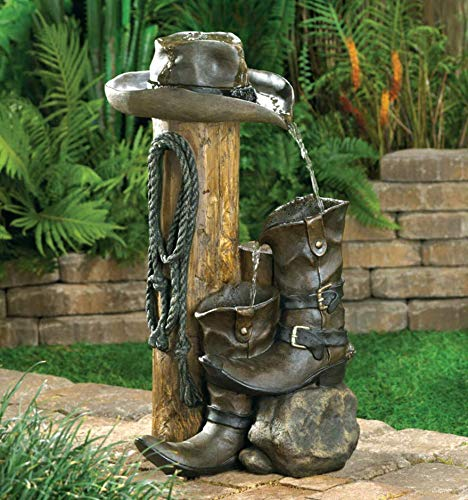Furniture Creations Rustic Water Fountains Outdoor, Cowboy Themed