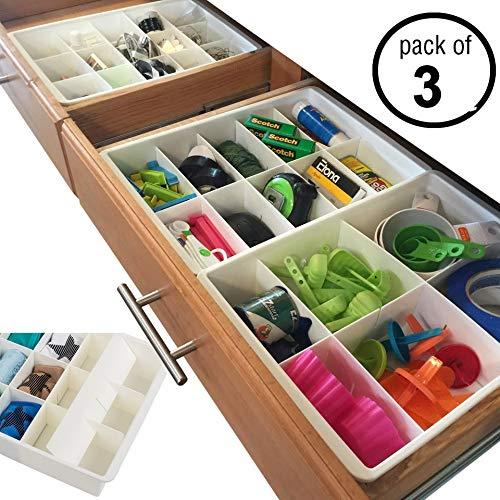 Divisori per Cassetti Regolabili per Archiviazione e Organizzazione dei Cassetti di Utensili da Cucina della Uncluttered Designs (3 Pezzi)