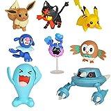Modello di Statua Anime8 Pz/Set Pokemon Pikachu Figure Popplio Rowlet Cosmog Metang Eevee Litten Wobbuffet Pika Action Figure Giocattoli per Bambini 5 Cm