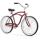 Firmstrong Urban Man Beach Cruiser Bike, Mens Bicycle 26-Inch, 1-Speed, Matte Red