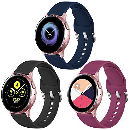 Vobafe Correa Compatible con Samsung Galaxy Watch Active/Active 2 (40mm/44mm), Correas de Repuesto de Silicona Suave con Cierre para Galaxy Watch 3 41mm/Gear Sport, S Negro/Vino Rojo/Mar Azul