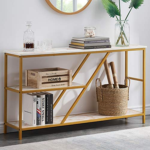 Modern Sofa Table with Shelves, Console Tables for Entryway, 3 Tier Hallway Table Entry Table with Storage, Faux Marble/Gold 55 Inch