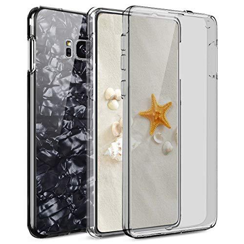 Kompatibel mit Galaxy S8 Hülle,Full-Body 360 Grad Schale Muschel Glitzer Klar Durchsichtige TPU Silikon Hülle Handyhülle Tasche Case Front Cover Schutzhülle für Galaxy S8,Schwarz