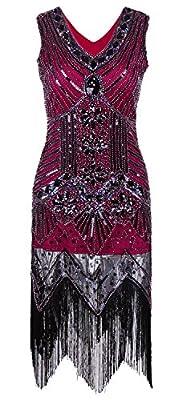 Women's 1920s V Neck Sleeveless Beaded Sequin Fringe Art Deco Gatsby Flapper Dress