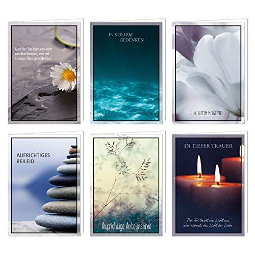 6er Set würdevolle Beileidskarten mit Umschlag I DIN A6 I Trauerkarten Kondolenzkarten modern I hochwertig I Beileid und Anteilnahme dv_495