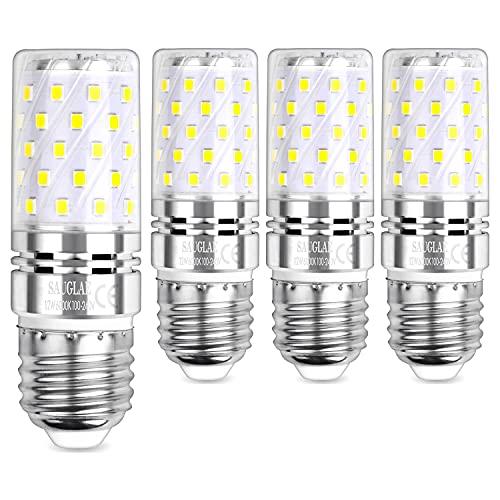 Sauglae LED Maíz Bombilla 12W, 100W Incandescente Bombilla Equivalentes, 6000K Blanco Frío, E27 Tornillo Edison, 1200lm, 4-Pack