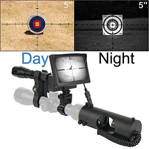 JASHKE Visore Notturno per Carabina,Visore Notturno Caccia,Visore Notturno per Carabina,Visore Notturno per Ottica,con Fotocamera HD e Schermo da 5 Pollici