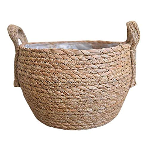 linjunddd Hecho a Mano de Almacenamiento de Paja Cesta de Mimbre Tejida Seagrass Vientre Tiesto con Asas para Almacenamiento de lavandería Picnic Tiesto