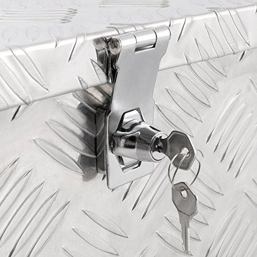 Arebos Aluminiumbox Werkzeugbox Deichselbox / 40 Liter / 60 x 25 x 30 cm/Inkl. Moosgummidichtung/Silber - 4