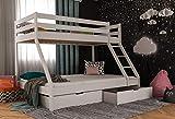 Letto a castello per bambini con cassettone, letto a castello per adulti, letto a 2 piazze, 140 x 200 cm xon rete a doghe e protezione anti-caduta