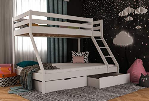 Stapelbed voor kinderen met bedlade, stokbed voor volwassenen, dubbel bed 140 x 200, incl. lattenbodem en valbeveiliging modern 140 x 200 cm wit