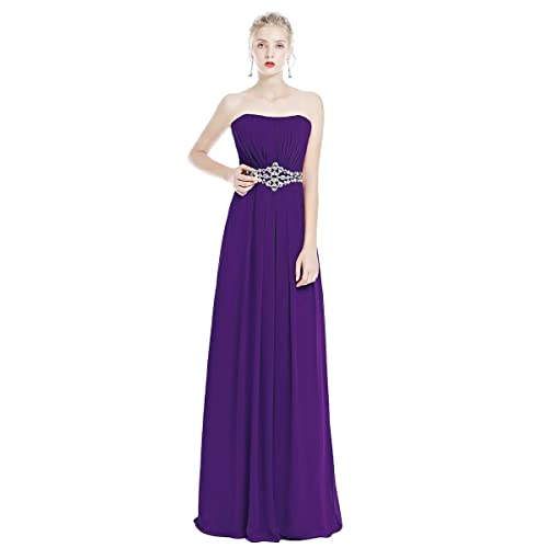 Women's Bridesmaids Formal Chiffon Wedding Prom Dress Strapless Sleeveless Maxi Long Dress Girls Cocktail Evening Pageant Party Gowns Floor Length Solid Color Dress Plus Size UK 6-26