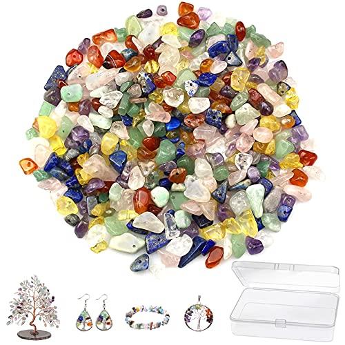 Cuentas de Piedras Preciosas de 4-8 mm 400 Pz Kit de Fabricación de Cuentas de Piedra Caja de Cuentas de Piedra Piedra para Hacer Joyería para Manualidades de Bricolaje Pulseras Pendientes Collares