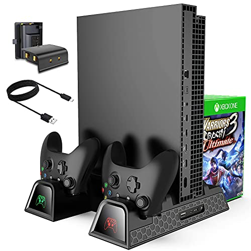 Cooling Stand for Xbox One One S One X, CTPOWER Vertical Charging Station with 2 Pack 600mAh Batteries, Games Storage, Dual Controller Charging Station