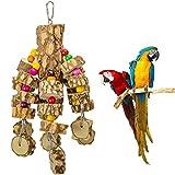 MYFAMIREA Large Parrot Chewing Toys Bird Toys Natural Wood Bird Toys Parakeet Cage Hammock Hanging Toy for Parrots, Cockatoos, African Grey, Cockatiels Big & Medium Birds