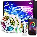 WenTop Tira LED Bluetooth 30m, Luces LED Habitación 30 Metros, RGB Tiras LED con Control Remoto y Inteligente Control de APP, Cambia el Color con la Música, Para Decoración de Bares, Fiestas, Cocina