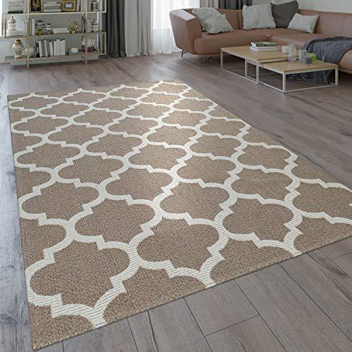 Paco Home Tapis Tissage À Plat Moderne Motif Tissé Orient Design Marocain en Beige, Dimension:60x100 cm