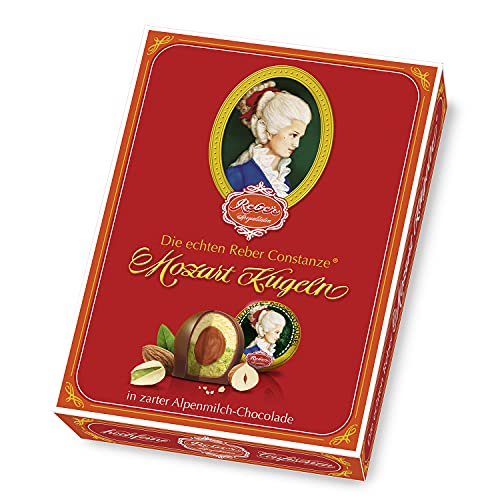 Reber Constanze Mozart-Kugeln, Pralinen aus Alpenmilch-Schokolade, Marzipan, Nougat, Besonderes Design, 12er-Packung, 240 g