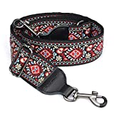 CLOUDMUSIC Banjo Strap Guitar Strap For Handbag Purse Jacquard Woven With Leather Ends And Metal Clips(Red Pattern)