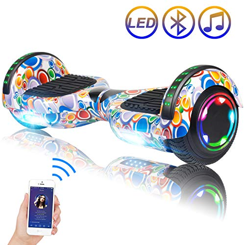 SISIGAD Hoverboard, 6.5' Two-Wheel Self Balancing Hoverboard with Bluetooth Speaker - Street Style