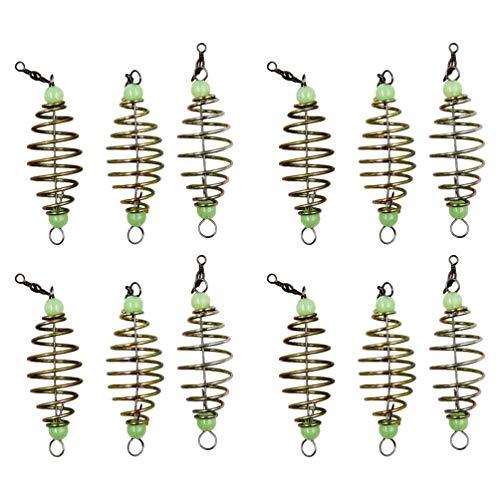 BESPORTBLE 12 Stück Fischköder Käfig Futterkorb Angel Kohlenstoffstahl Oliven Stil Angeln Köder Feeder Halter Behälter mit Leuchtenden Perlen Angelzubehör