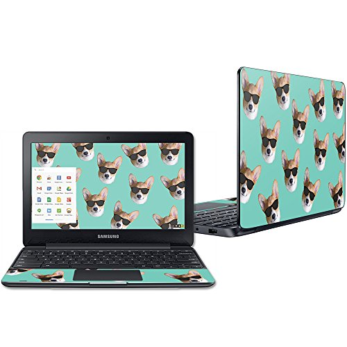 """MightySkins Skin Compatible with Samsung Chromebook 3 11.6"""" - Cool Corgi   Protective, Durable, and Unique Vinyl Decal wrap Cover   Easy to Apply, Remove, and Change Styles   Made in The USA"""