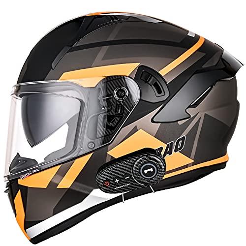 Bluetooth Casco Moto Integral, Casco de Moto Scooter para Mujer Hombre Adultos con Anti Niebla Doble Visera, Casco Integrado ECE Homologado con 1200mA Auriculares Bluetooth