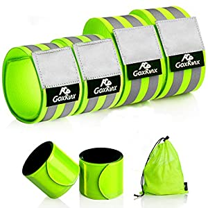 Reflective Bands Running Gear 6 Pack-Adjustable Reflective Armband Arm Wrist Ankle Leg Bands Reflectors -Reflective Tape Straps for Clothing Night Running Cycling Walking -Slap Bracelets,Green