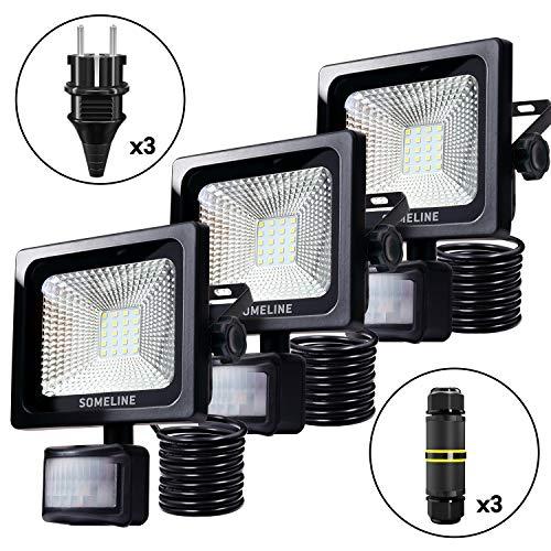 Someline - Foco led para exteriores (20 W, con sensor de movimiento, enchufe y caja de derivación, IP66, resistente al agua, con sensor de movimiento, 3 unidades)