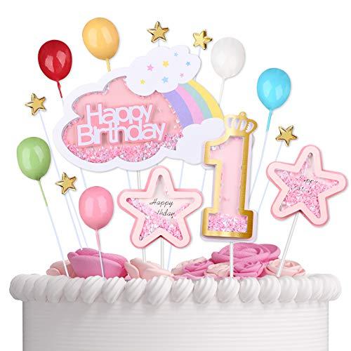 VAINECHAY Happy Birthday Tortendeko Geburtstag Erster - 1st Kuchen Dekoration Kuchendeko Torten Deko Cake Topper mit Rosa Sterne Cupcake Toppers für Mädchen Junge Kindergeburtstag Baby