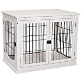 PawHut Pet Crate End Table Wooden Dog Kennel Cage w/Metal Wire 3 Doors Latches Small Animal House Modern Design Indoor White 81 x 58.5 x 66 cm