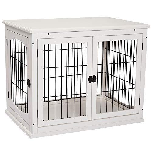Pawhut Hundehütte mit Tischoberfläche, Hundebox für innen, Hundekäfig für Zuhause, 2 Türen, Tierkäfig, Haustier, MDF, Metall, Weiß, 81 x 58,5 x 66 cm