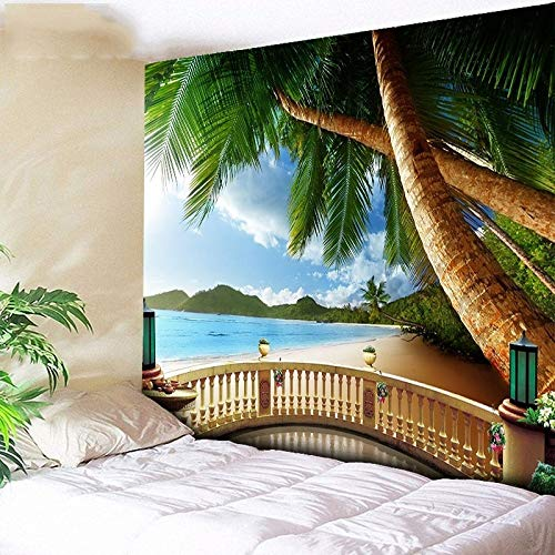 WERT Tapiz de Bosque psicodélico mar árbol de Coco Colgante de Pared Tapiz de Playa 3D Gran Tapiz de Pared Boho Tapiz para el hogar A1 180x200cm