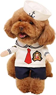 NACOCO Dog Sailor Costumes Navy Suit with Hat Halloween Christmas Pet Costumes for Puppy and Cat