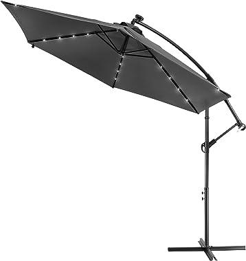 Kingsleeve - Parasol déporté en Aluminium Ø3m Haiti - éclairage 24 LED - Lampe Solaire - Anthracite - Protection, manivelle,