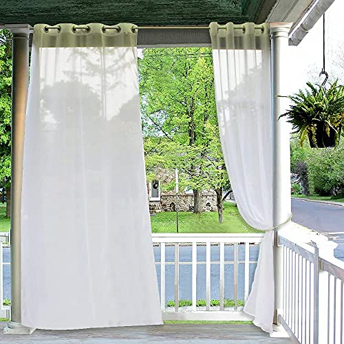 RYB HOME Outdoor Linen Sheer - Semitransparent White Sheer Privacy Porch Screen Panel with Grommet Easy to Dry for Pavilion / Patio / Sunroom, with Curtain Rope, 54 x 108, 1 Pc