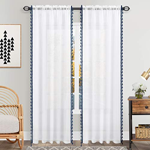 Semi Sheer Navy Blue Curtains 84 Inch Length for Living Room Set 2 Panels Rod Pocket Window Coverings Faux Linen Nautical Masculine Drapes Indigo Blue Sheer Curtains for Boys Bedroom Decor 52x84 Long