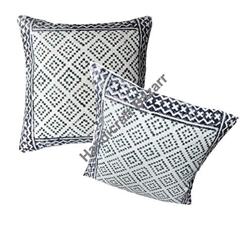 Handicraft Bazarr - Juego de 2 piezas, diseño de bloque de algodón indio impreso vintage, funda de cojín para habitación de cama, sofá y viaje, funda de almohada de arpillera de madera maternidad