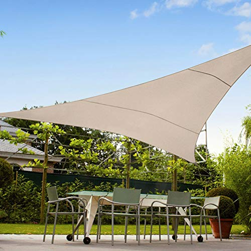 TANG Sunshades Depot 12'x12'x12' Equilateral Triangle Waterproof Terylene Knitted Shade Sail Curved Edge Beige 260 GSM UV Block Shade Fabric Pergola Carport Awning Canopy Replacement Awning